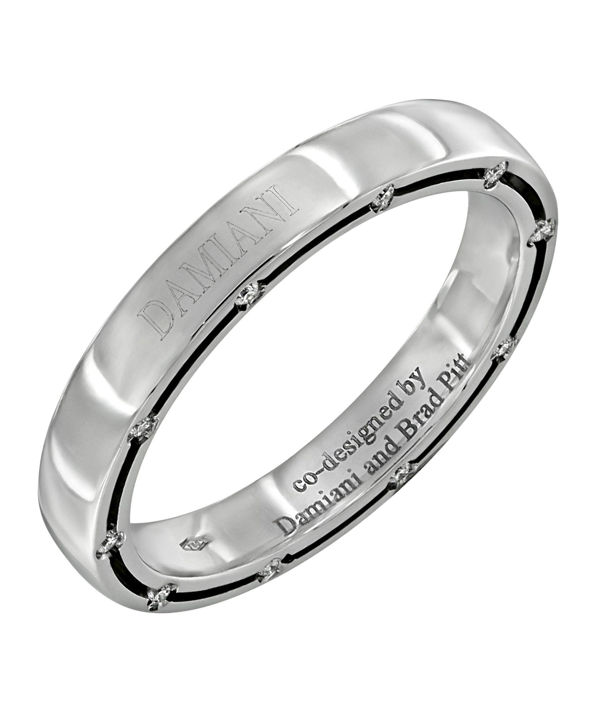 27ca23827a00 Обручальное кольцо Damiani Brad Pitt из белого золота 750 пробы с 20  бриллиантами ...